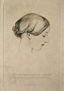 1845 sketch of Nightingale by Hilary Bonham Carter. Pencil drawing. Nightingale has closed eyes and short hair and faces to our right.
